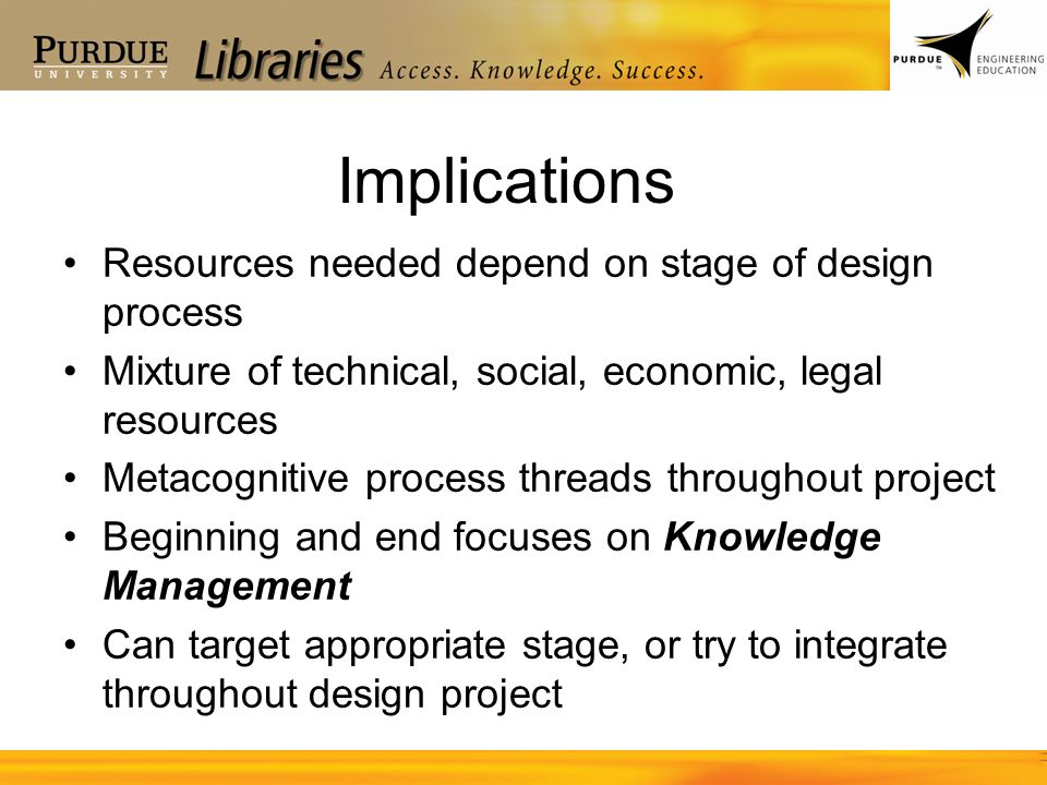 Implications Resources needed depend on stage of design process