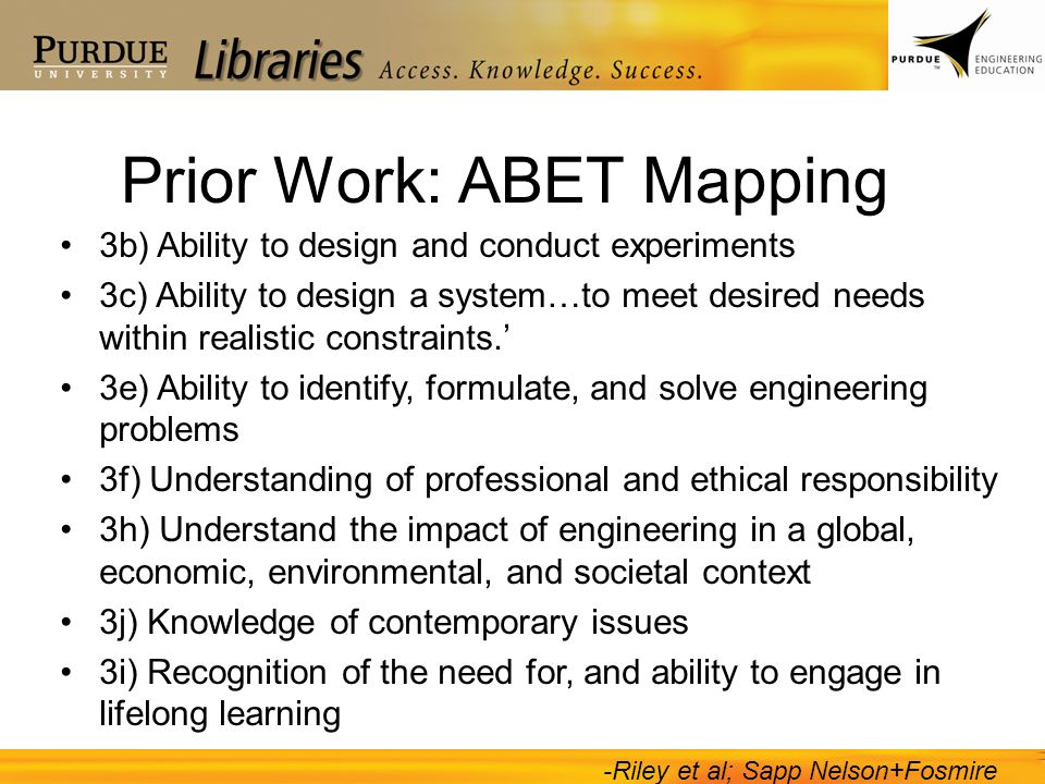 Prior Work: ABET Mapping
