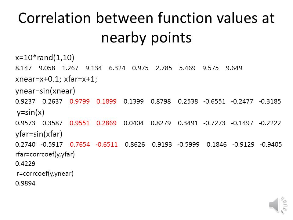 Correlation between function values at nearby points
