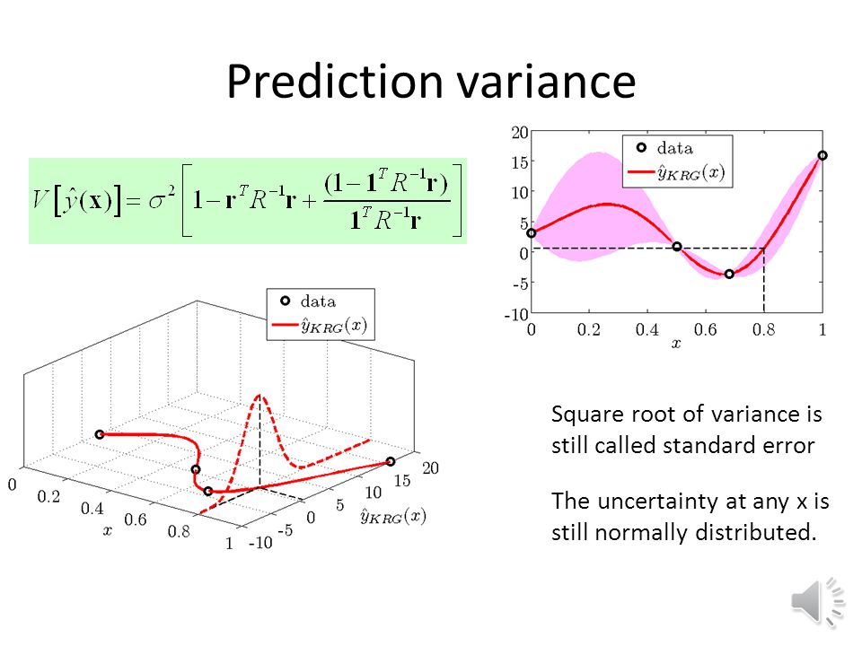 Prediction variance Square root of variance is still called standard error. The uncertainty at any x is still normally distributed.