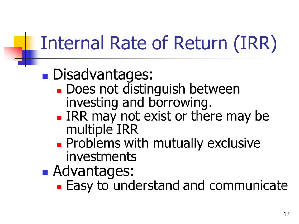 Example: IRR Consider the following project: