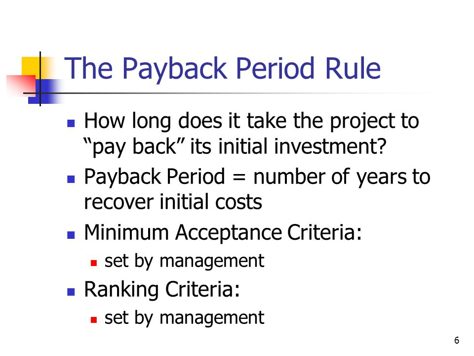 The Payback Period Rule