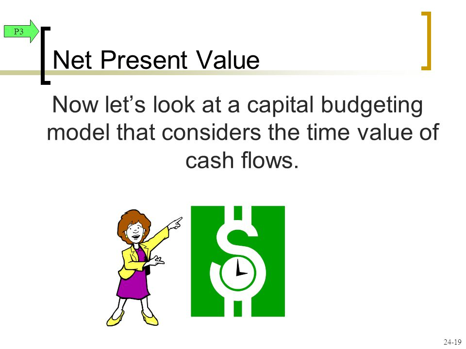 Net Present Value P3. Now let's look at a capital budgeting model that considers the time value of cash flows.