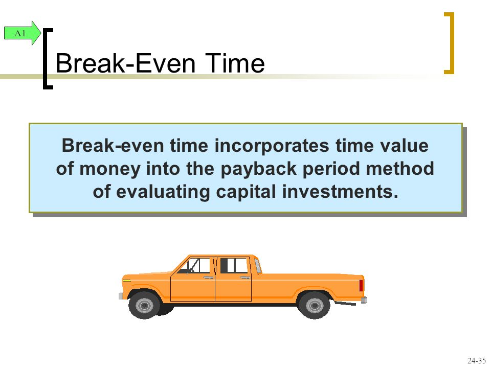 Break-Even Time A1. Break-even time incorporates time value of money into the payback period method of evaluating capital investments.