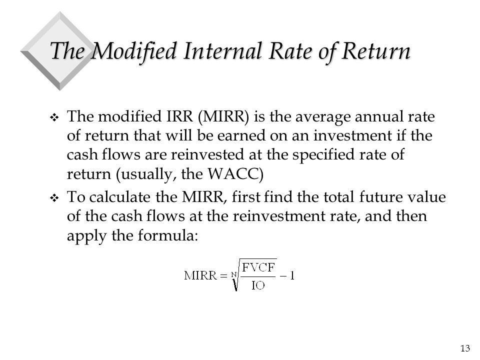The Modified Internal Rate of Return