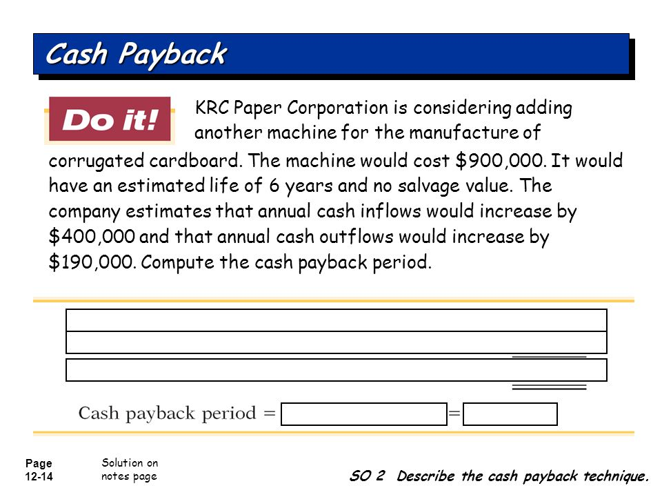 Cash Payback KRC Paper Corporation is considering adding another machine for the manufacture of.
