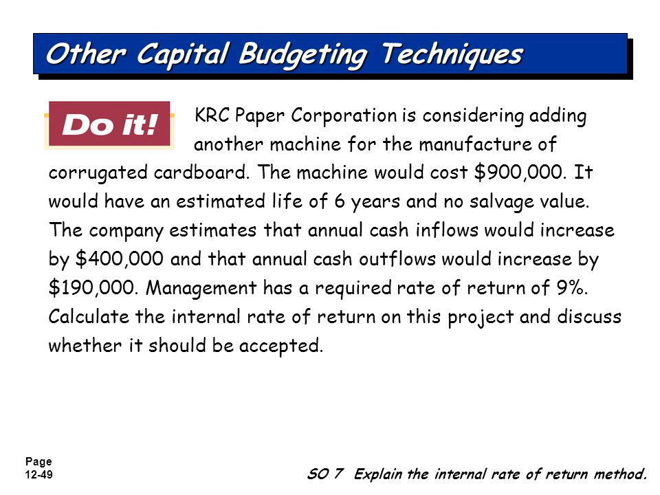 Other Capital Budgeting Techniques