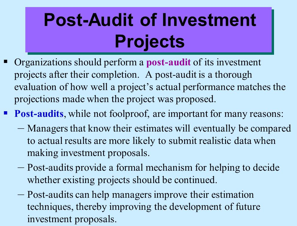 Post-Audit of Investment Projects