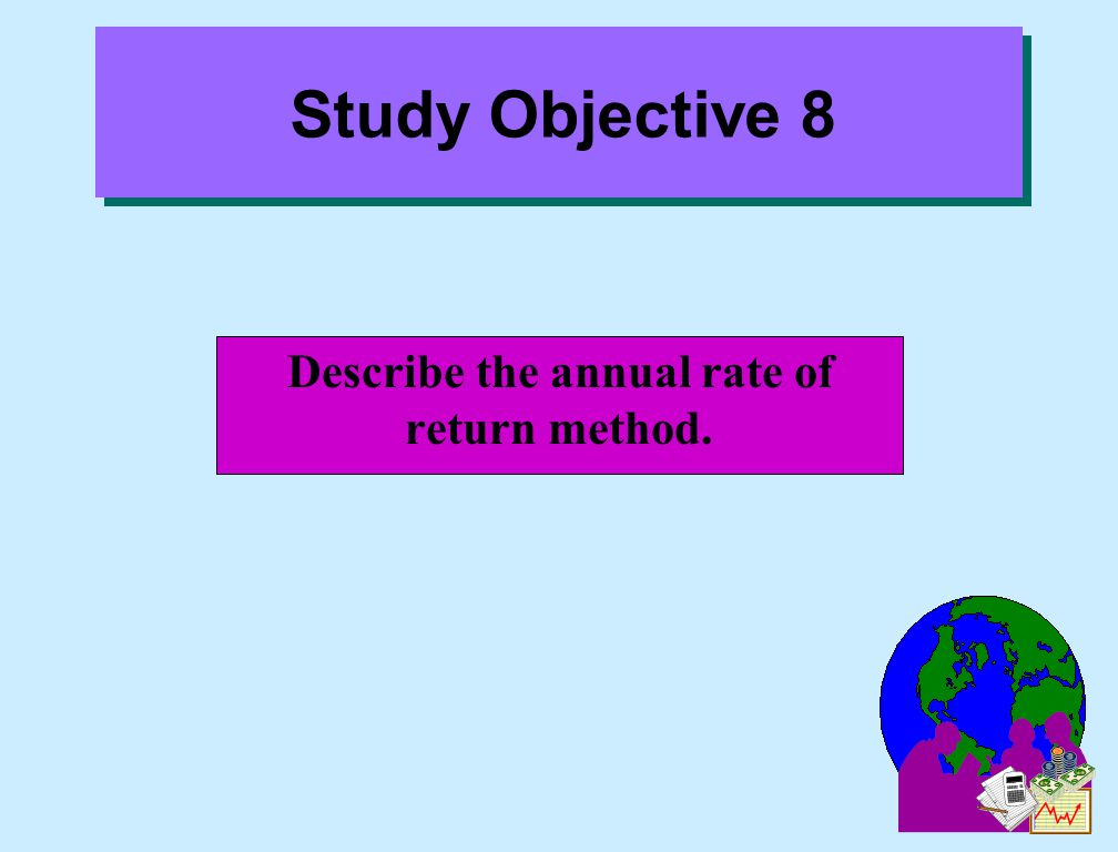 Describe the annual rate of return method.