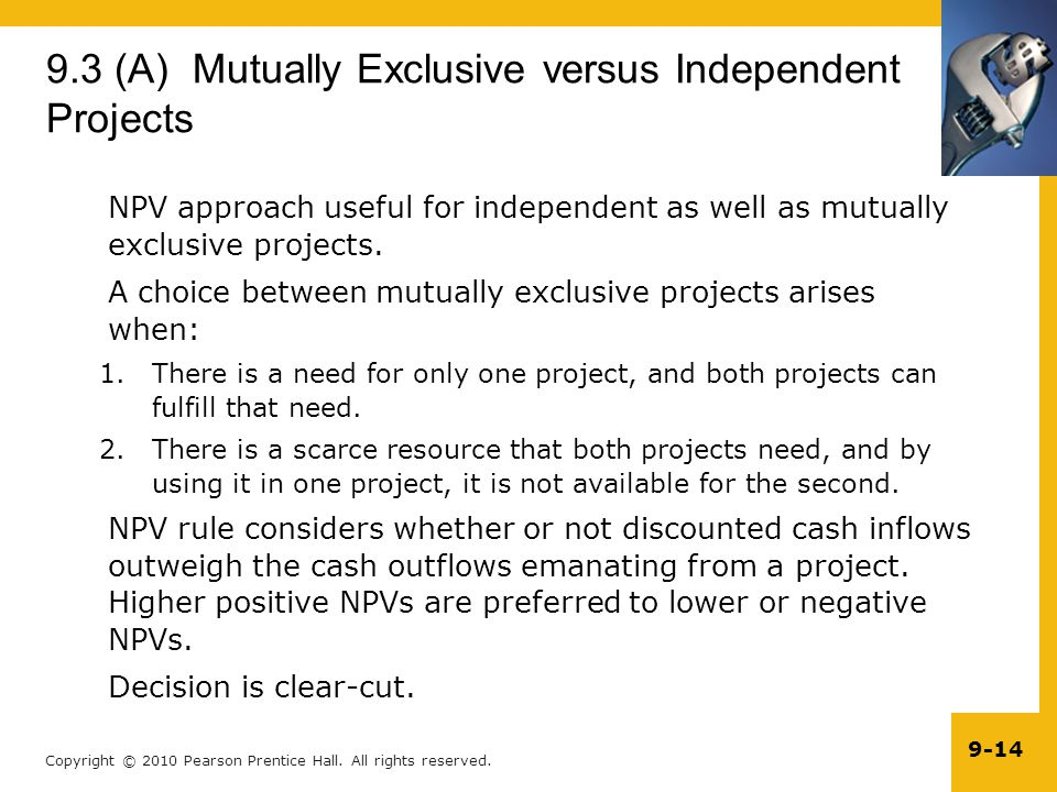 9.3 (A) Mutually Exclusive versus Independent Projects