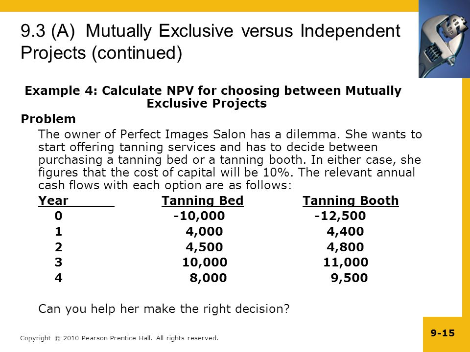 9.3 (A) Mutually Exclusive versus Independent Projects (continued)