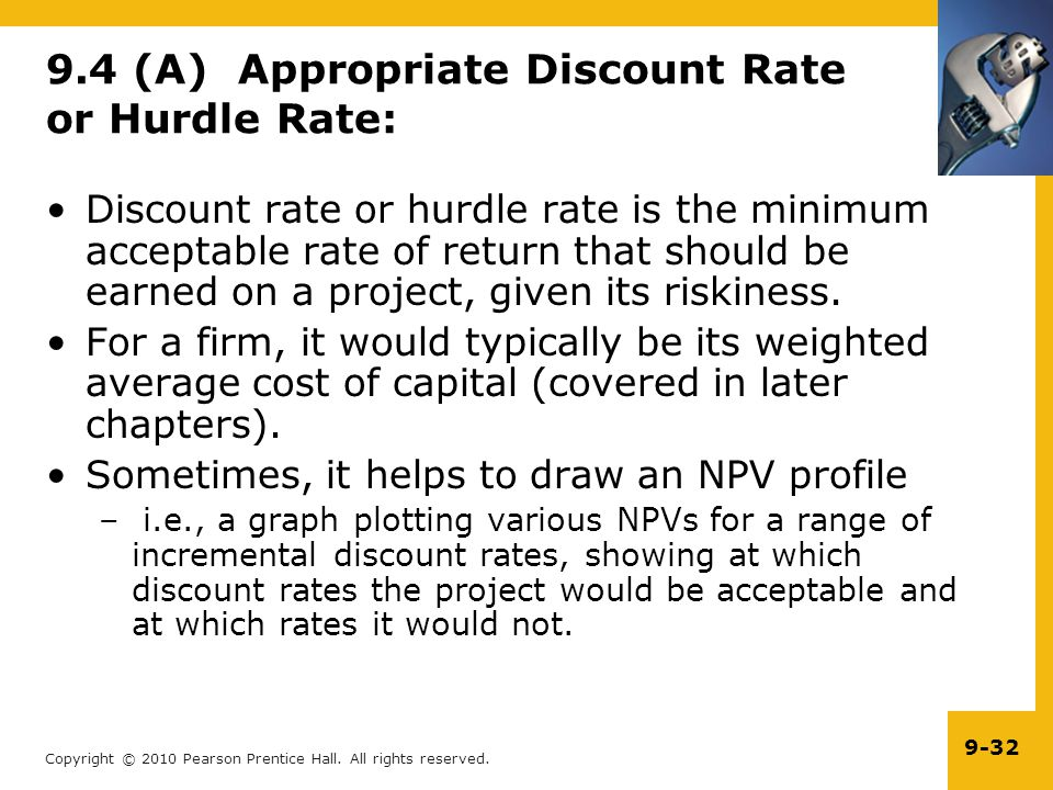 9.4 (A) Appropriate Discount Rate or Hurdle Rate: