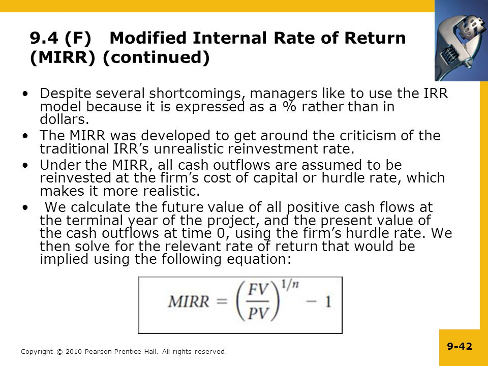 9.4 (F) Modified Internal Rate of Return (MIRR) (continued)