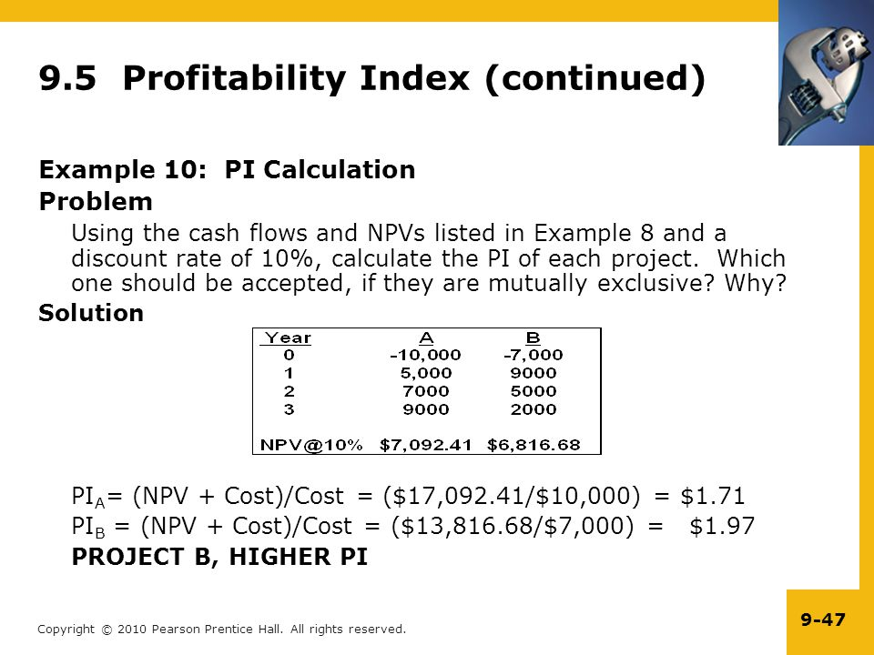 9.5 Profitability Index (continued)