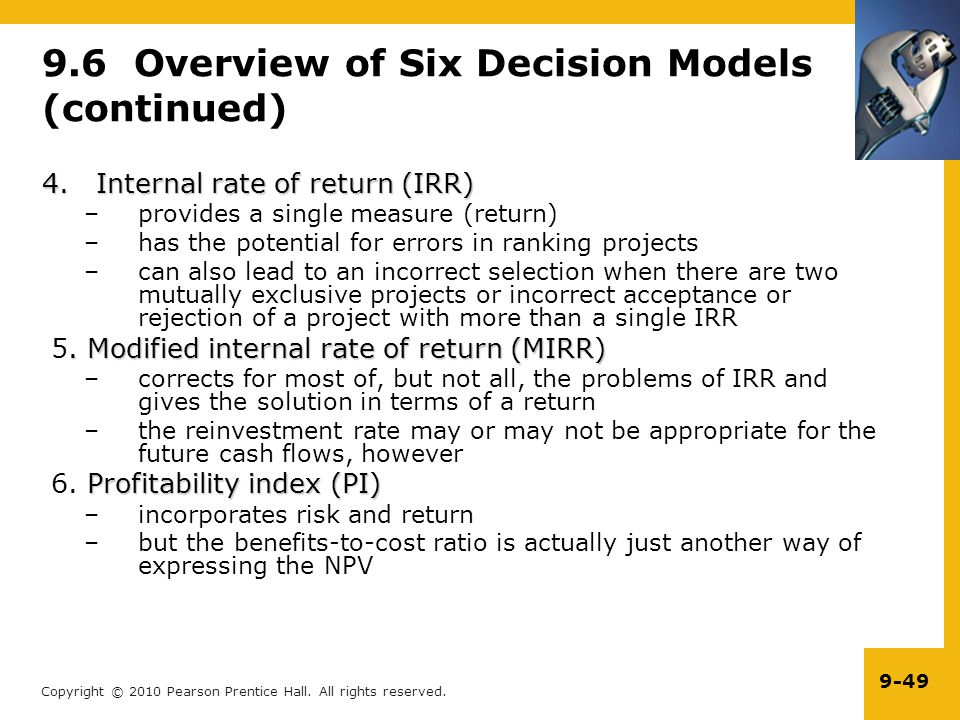 9.6 Overview of Six Decision Models (continued)