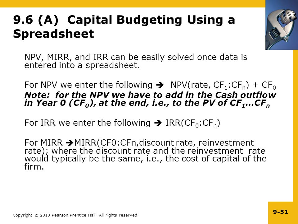 9.6 (A) Capital Budgeting Using a Spreadsheet