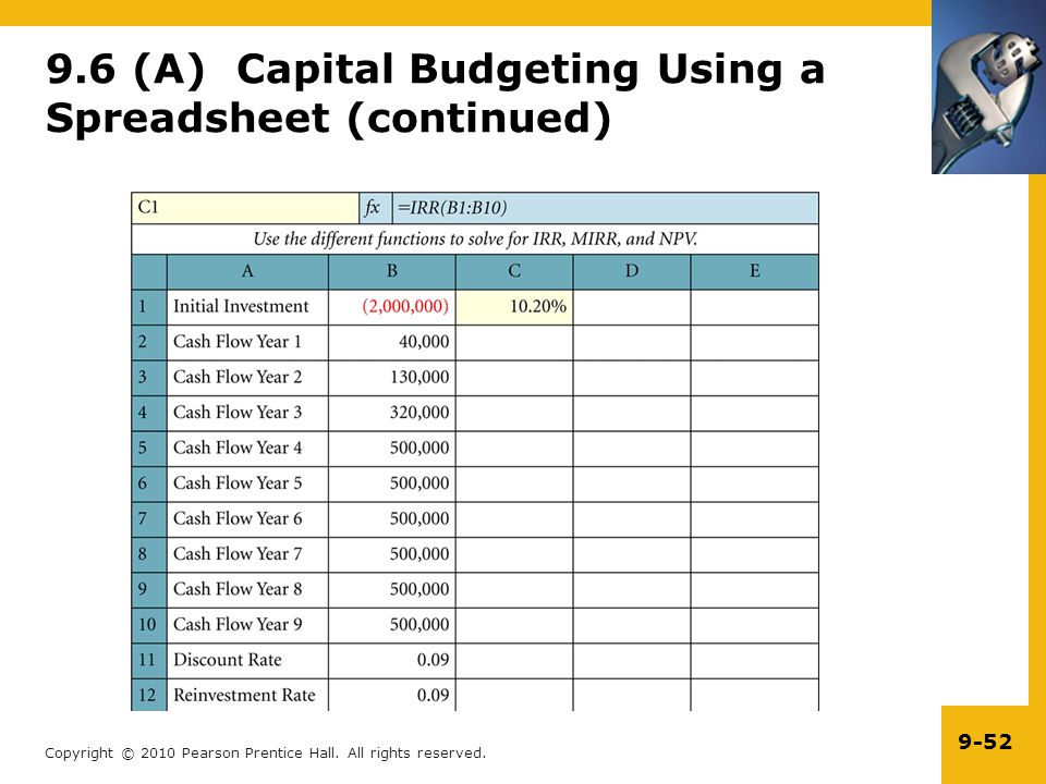 9.6 (A) Capital Budgeting Using a Spreadsheet (continued)