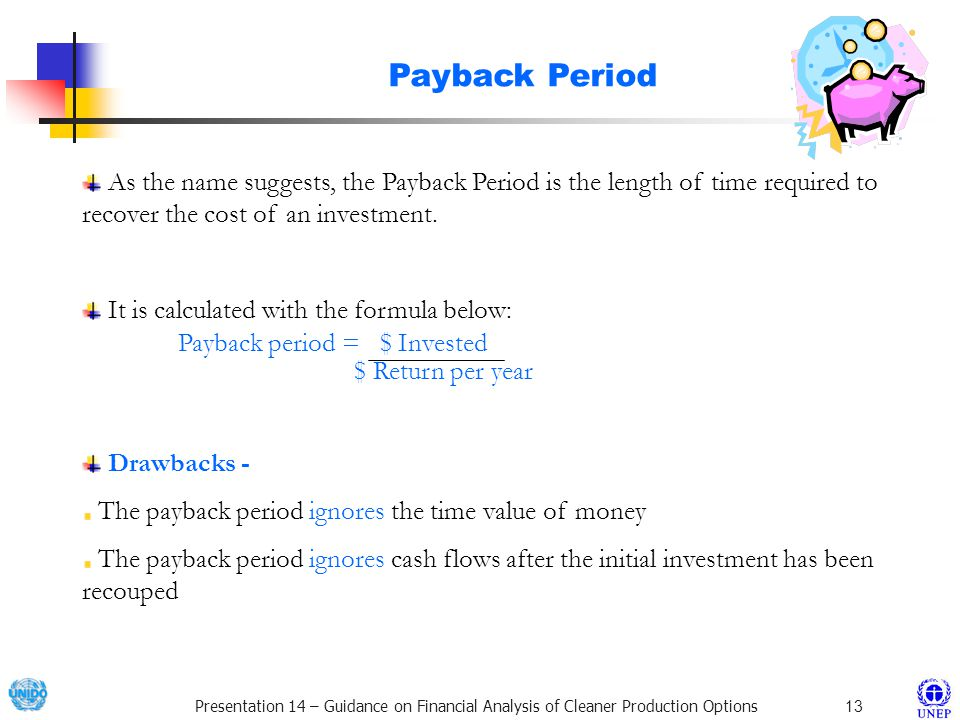Payback Period As the name suggests, the Payback Period is the length of time required to recover the cost of an investment.