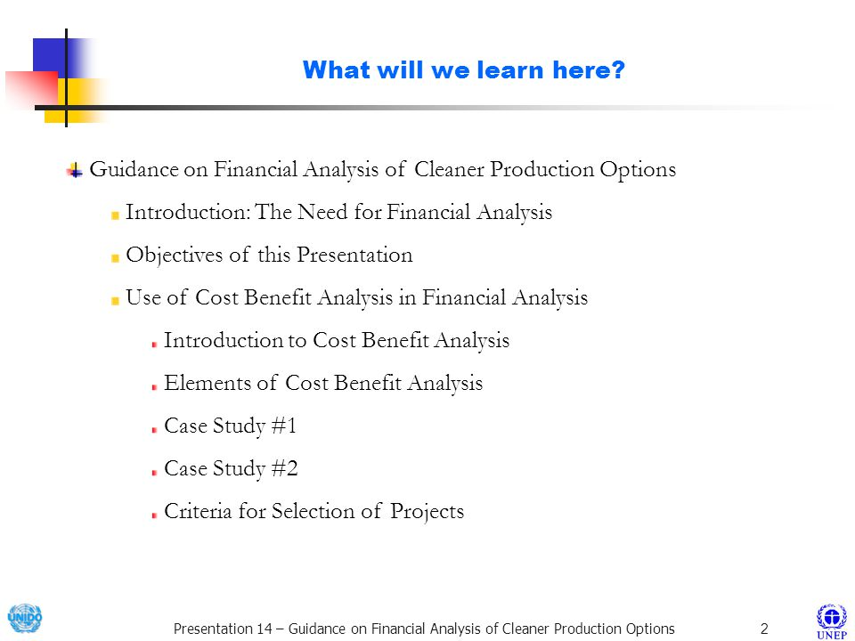 What will we learn here Guidance on Financial Analysis of Cleaner Production Options. Introduction: The Need for Financial Analysis.