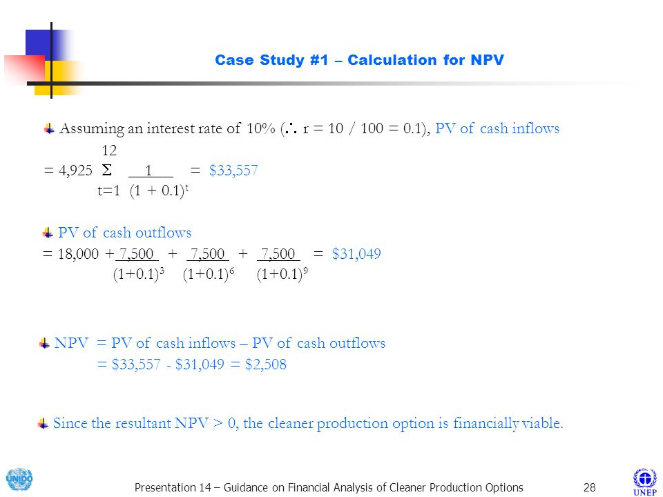 Case Study #1 – Calculation for NPV