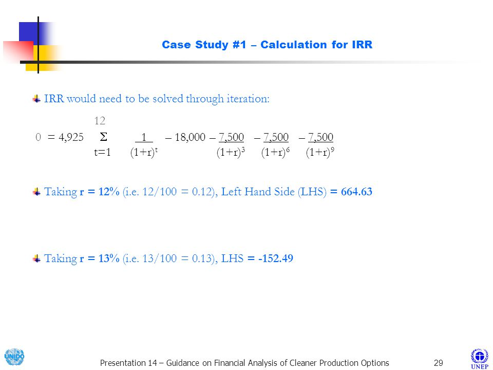 Case Study #1 – Calculation for IRR