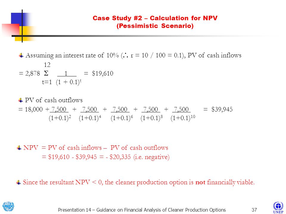 Case Study #2 – Calculation for NPV (Pessimistic Scenario)