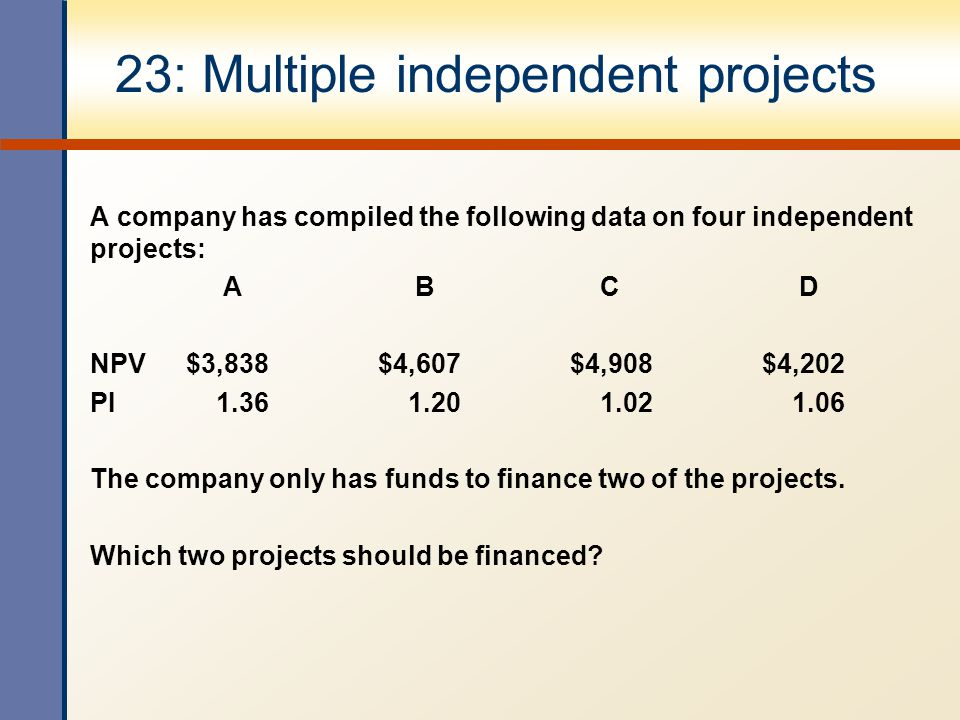 23: Multiple independent projects