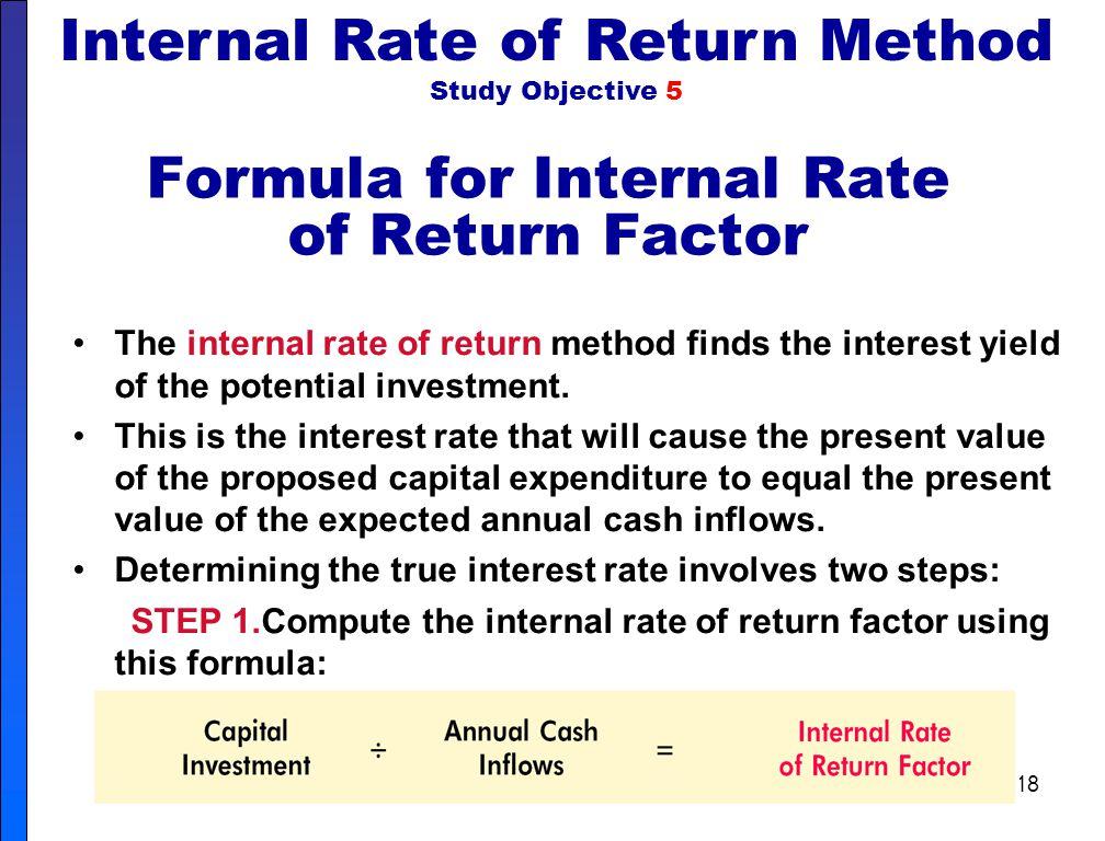 Formula for Internal Rate of Return Factor