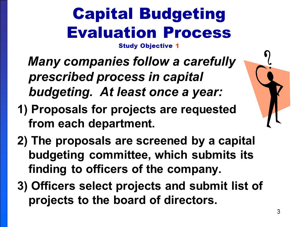 Capital Budgeting Evaluation Process Study Objective 1