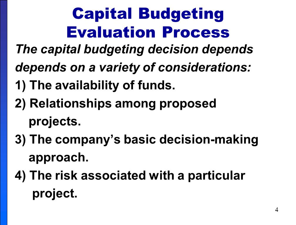 Capital Budgeting Evaluation Process
