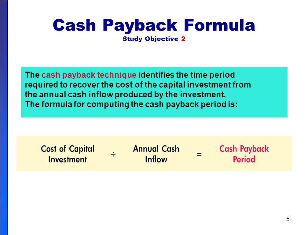 Cash Payback Formula Study Objective 2