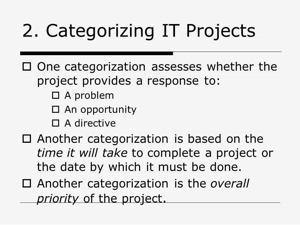 2. Categorizing IT Projects