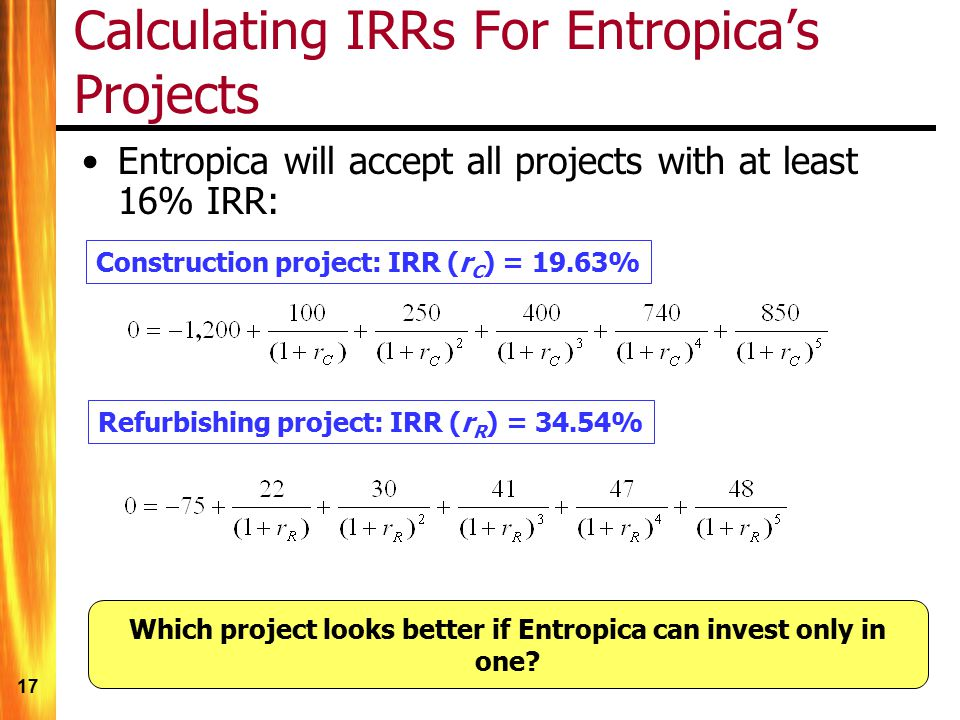 Calculating IRRs For Entropica's Projects
