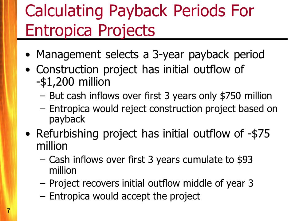 Calculating Payback Periods For Entropica Projects