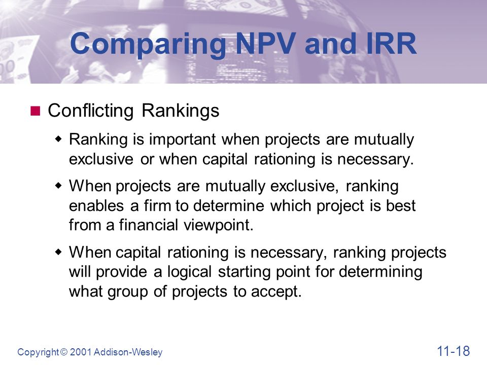 Comparing NPV and IRR Conflicting Rankings