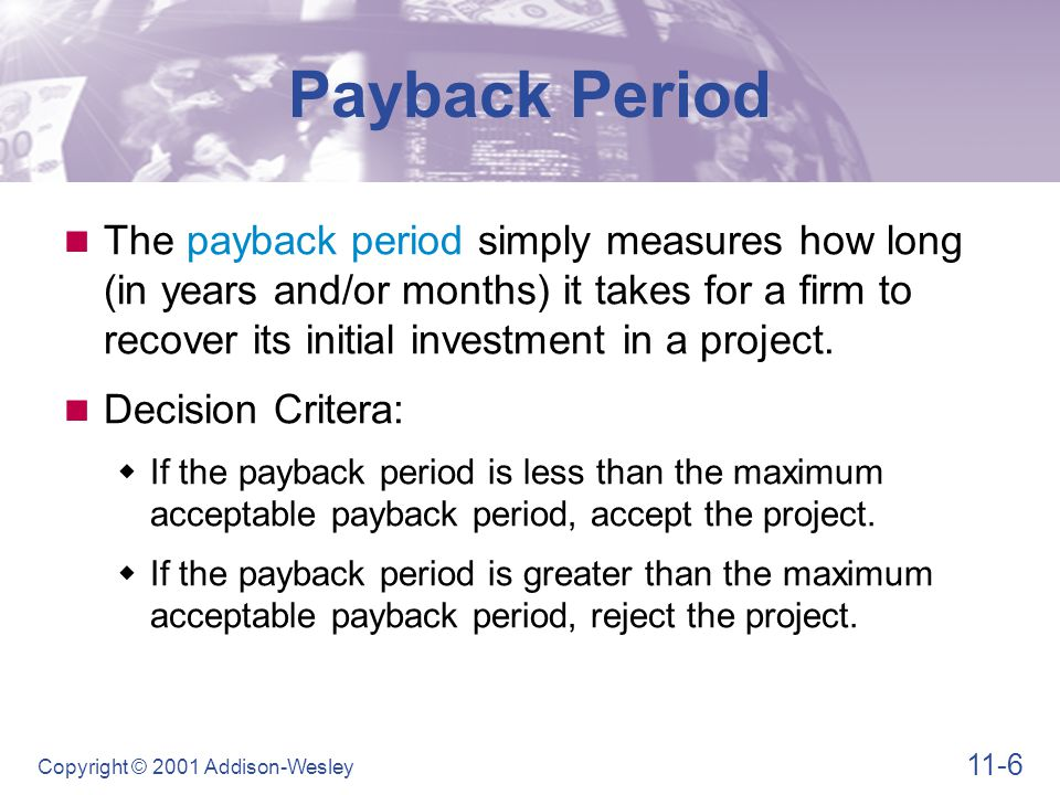 Payback Period Assume the maximum payback for Onlab's Projects is 2.75 years.