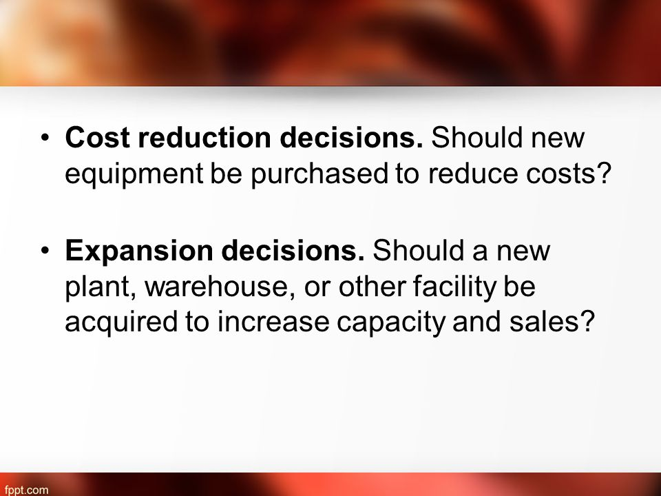 Cost reduction decisions