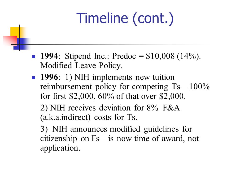 10/27/2002 Timeline (cont.) 1994: Stipend Inc.: Predoc = $10,008 (14%). Modified Leave Policy.