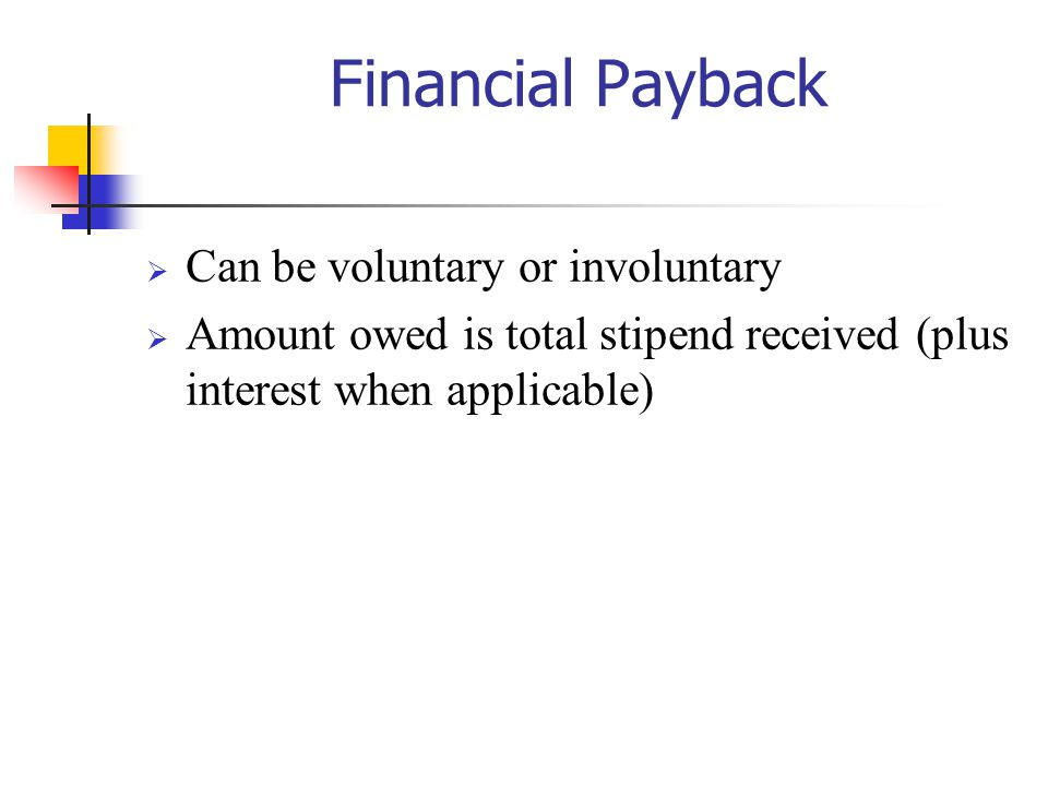 Financial Payback Can be voluntary or involuntary