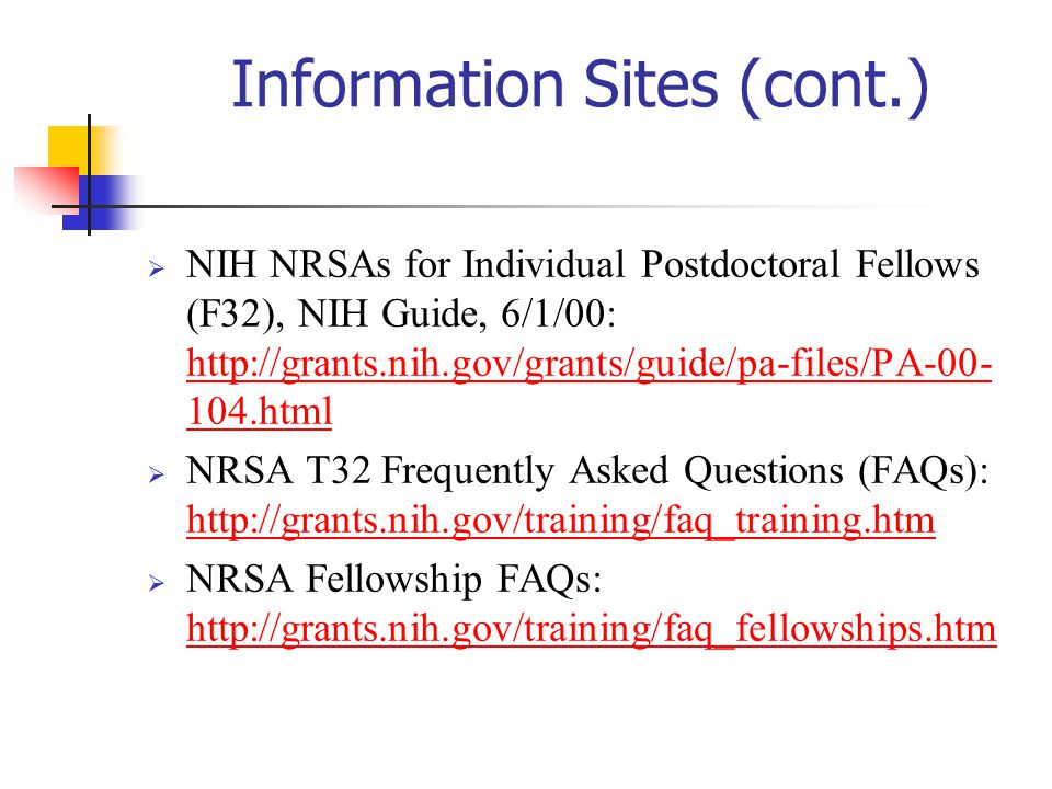 Information Sites (cont.)