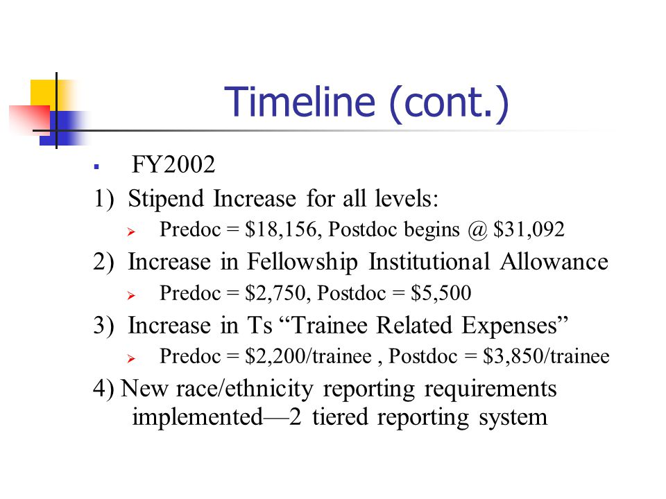 Timeline (cont.) FY2002 1) Stipend Increase for all levels: