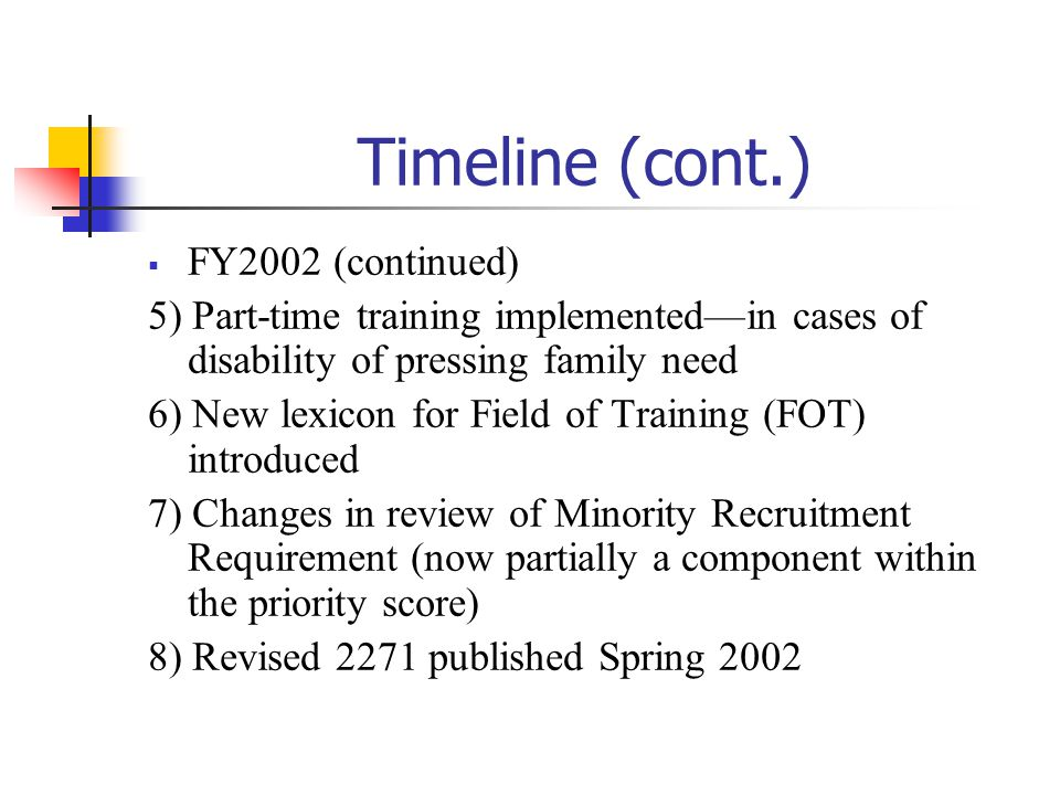 Timeline (cont.) FY2002 (continued)