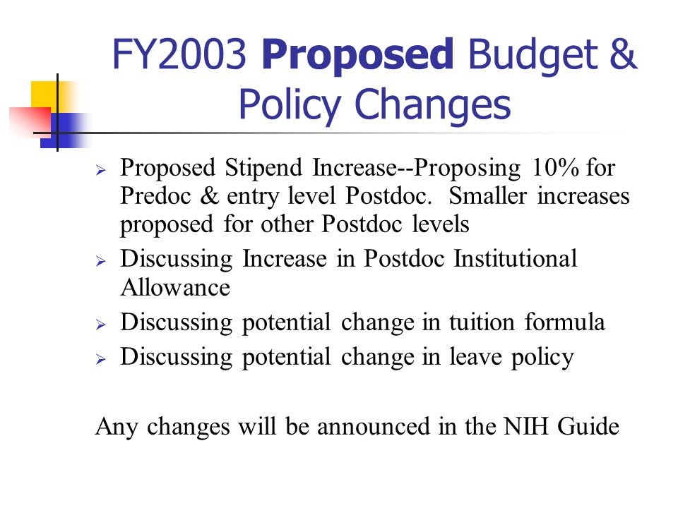 FY2003 Proposed Budget & Policy Changes