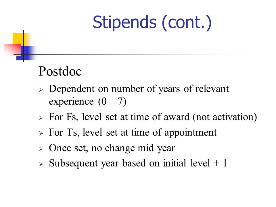 Stipends (cont.) Postdoc