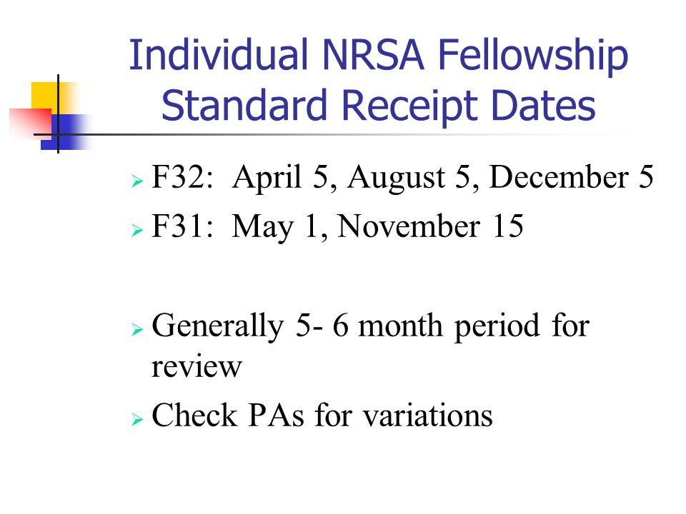 Individual NRSA Fellowship Standard Receipt Dates