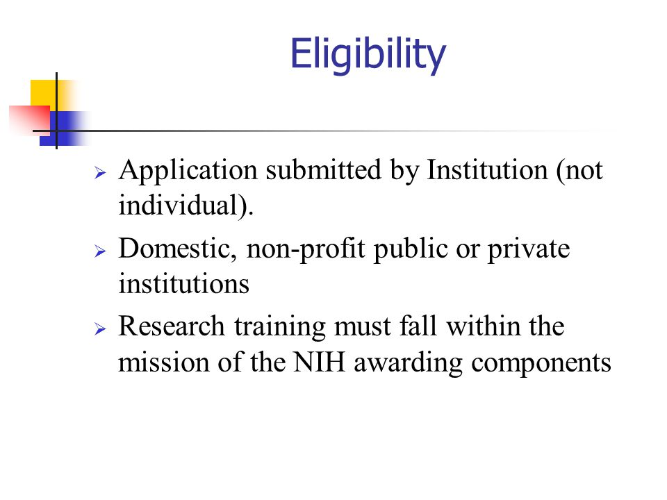 Eligibility Application submitted by Institution (not individual).