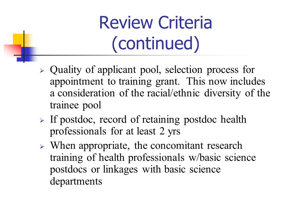 Review Criteria (continued)