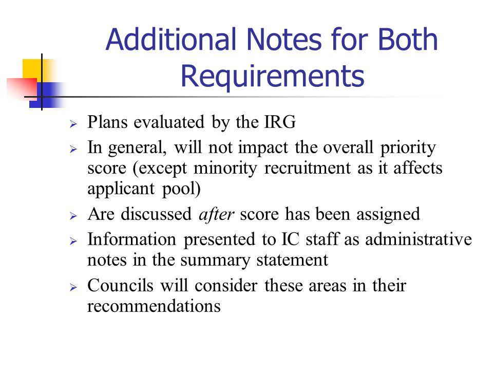 Additional Notes for Both Requirements