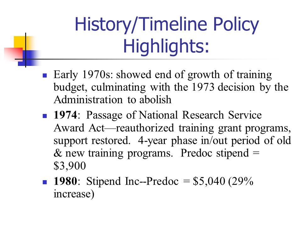 History/Timeline Policy Highlights: