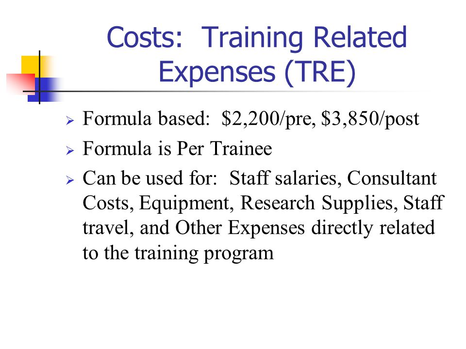 Costs: Training Related Expenses (TRE)